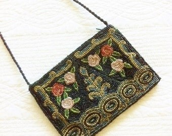 Vintage Shabby Chic Rose Beaded Purse, Romantic Home, Olives and Doves
