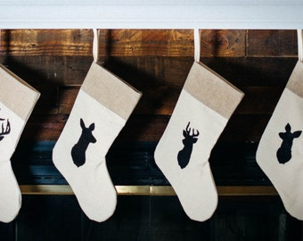 Rustic Chic Deer Family Stockings Individual Deer silhouette Deer family Rustic christmas Antler Neutral Stocking