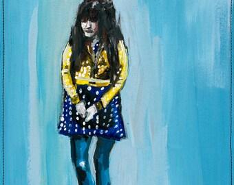 Shy. Giclee Art Print, Whimsical Girl Polka Dot Painting, Modern Home Decor, 11 x 14