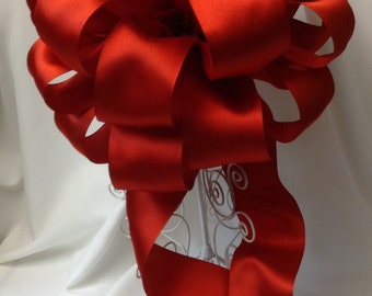 Red Valentine Bow - Red Christmas Tree Topper Bow- Large Red Gift Bow - Tree Topper Bow - Large Red Bow - Holiday Bow - Tree Top
