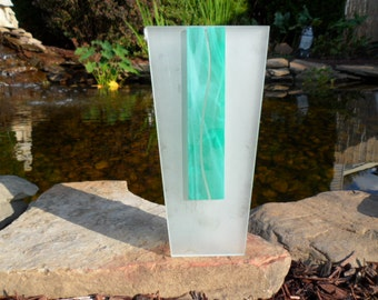 Morin Choinière Montreal - Frosted Glass Vase - 9 Inches Tall - Two Tone Frosted Glass Bud Vase - Objet d'art - Collectible Canadian Art