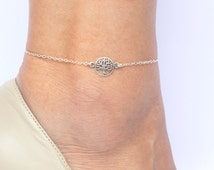 Tree of Life Anklet, Silver Anklet, Tree of Life Charm Ankle Bracelet, Delicate Anklet,Gift for girlfriend,Charm Anklet,Tree of Life Jewelry