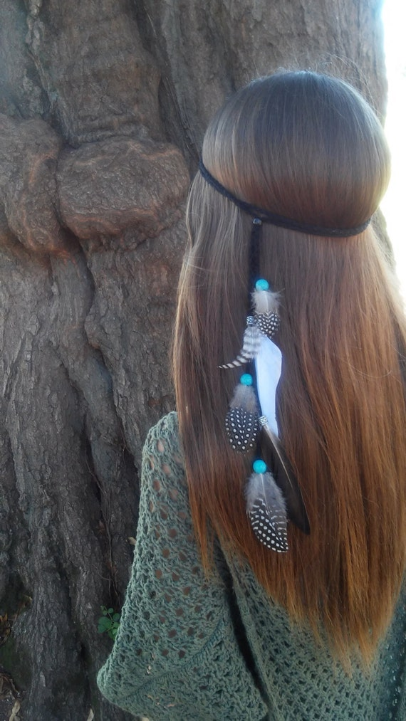 Free Bird Feather HeadBand wedding whimsical headpiece