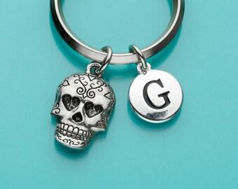 Sugar Skull Keychain, Sugar Skull Key Ring, Skull with Heart Eyes, Initial Keychain, Personalized Keychain, Charm Keychain, 326