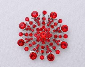 Red Wedding Brooch Red Bridal Brooch Bridal Sash Cake Decor DIY Supplies Red Rhinestone Brooch