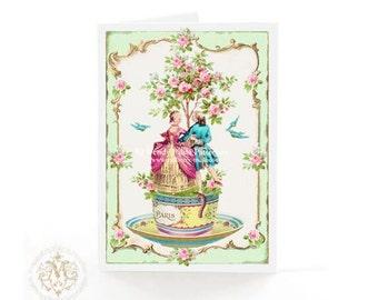 Valentine card, romantic couple, vintage teacup, dancing couple, love card, mint green, pink, Paris, Marie Antoinette, anniversary, wedding
