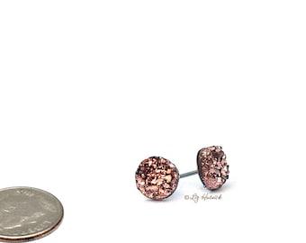 Faux Druzy Titanium Post Earrings in Rose Bronze, Glitter Earrings, 8mm Faux Drusy Studs, Bridesmaid Gifts