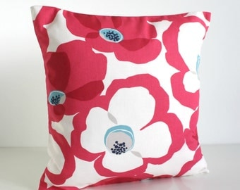 Decorative Pillow Cover, 16x16 Pillow Cover, 16 Inch Pillow Cover, Pillow Covers, Sofa Pillow, Throw Pillow, Pillow Cover - Poppies Hot Pink