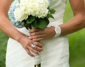 Bridal Cuff Bracelet Vintage Lace Cuff Beaded Pearl Wedding Jewelry , Express shipment - BRIDGET