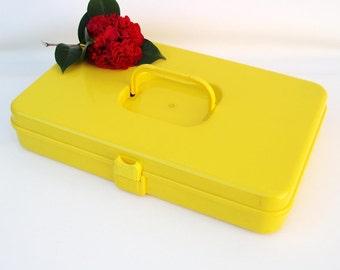 Vintage Sewing Box, Storage Box, Thread Organizer, Thread Rack, Yellow Plastic Box, Wood Spools, Sewing Supplies