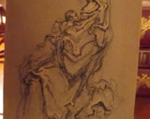 Vintage Humberto Romano Madonna and Child Charcoal Sketch Print Small Print Gold Wooden Easel Stand YourFineHouse