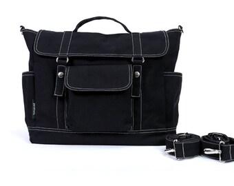 DYLAN // Black / Lined with Beige / 070 // Ship in 3 days // Backpack / Diaper bag / Shoulder bag / Tote bag / Messenger Bag / Gym bag