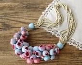 Statement necklace Bib Necklace Beadwork Pink Blue flower buds