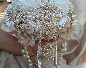 Gold and Ivory Brooch Bouquet, Gatsby Style Brooch Bouquet, Gold Brooch Bouquet, Ivory and Gold Jeweled Bouquet, DEPOSIT ONLY