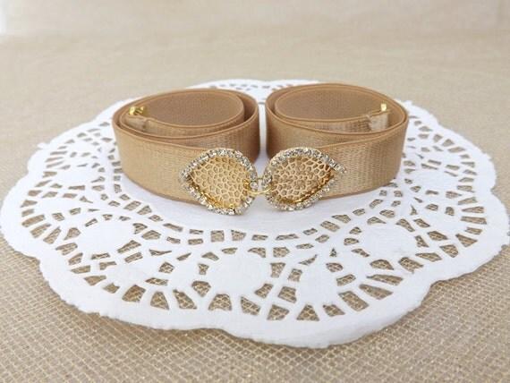 Gold elastic waist belt. Gold leaf rhinestone centerpiece. Bridal/ bridesmaid gold wedding belt. Dress belt. Sprakly belt. Jeweled belt.