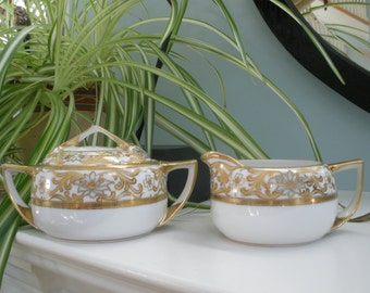 Beautiful Hand Painted Porcelain Gold Leaf Nippon Cream & Sugar Set