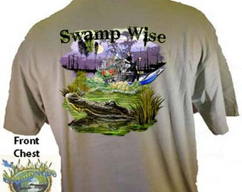 Swamp Wise Air Boat and Alligator Southern T-Shirt