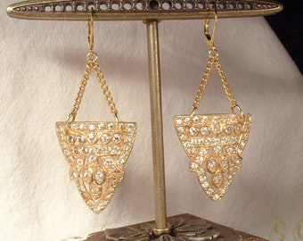 OOAK 1920s Gold Dangle Bridal Earrings, Antique Art Deco Paste Rhinestone Earrings Vintage Flapper Long Drop Statement Dress Clip Assemblage