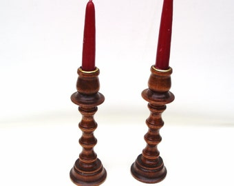 Vintage Wooden Candlesticks, Wood Candle Holders, Adjustable Wood Candle Sticks, Turned Wood
