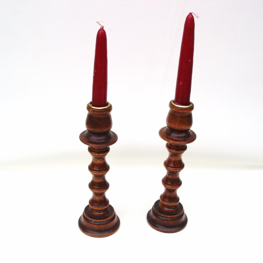 Vintage Wooden Candlesticks Wood Candle Holders Adjustable