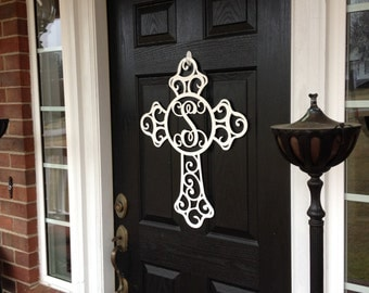 Metal Front door wreath, cross door hanger, monogram door wreath, initial door hanger, Easter Wreath, Outdoor Wreath, monogram wreath,