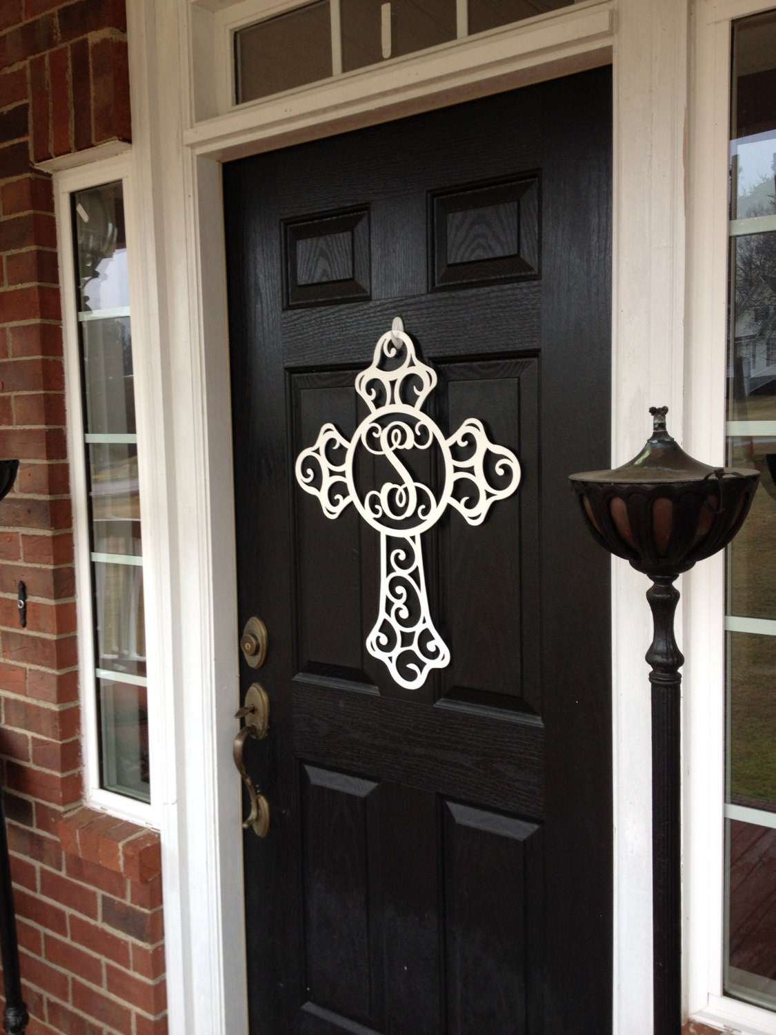Metal front door wreath cross door hanger monogram door for Initial decorations for home