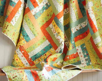 Twin Size Rail Fence Quilt - Mind Your P's and Q's - READY TO SHIP - Homemade Quilts