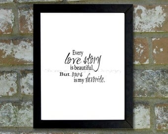 "Digital Download Typographic Print Wall Art ""Love Story"" Instant Download Printable Art Printable Word Art Black and White Home Decor"