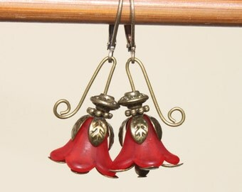Red Earrings Flower Earrings Lucite Dangle Earrings Valentine's Day