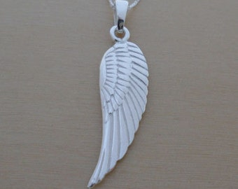 """925 Sterling Silver Angel Wing Pendant, Charm on 16"""", 18"""", 20"""" Curb Chain or Without Chain"""