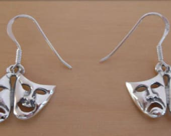 925 Sterling Silver Drop Comedy & Tragedy Mask, Face Earrings