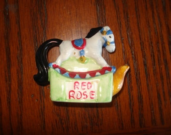 Horse Red rose figurine Collectible