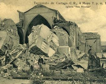 St. Nicholas Church, Costa Rica after 1910 Earthquake - Antique Postcard