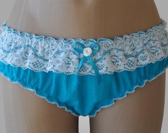 Blue Cotton Ruffle Panties - Handmade