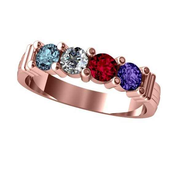 14k Personalized Mothers Shared Prong Ring Solid White Yellow Or Rose Gold  w/ 1 2 3 4 5 or 6 Birthstones Custom Family Jewelry