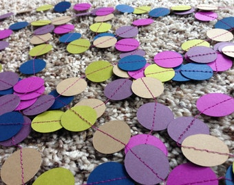 SALE Purple Circle Garland || Jewel Tone || Confetti Garland || Kraft Paper || Navy Green Olive || Nursery Garland