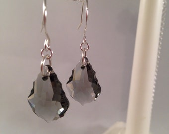 Free shipping! Swarovski crystals earrings with handmade sterling silver ear wires.