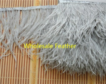 10 yards/lot light grey ostrich feather trimming fringe on Satin Header 5-6inch in width for Wedding Derss