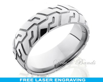 Titanium Wedding Ring Ring Dome Tire Tread Pattrern Ring Comfort Fit 8mm His Hers Engagement Anniversary Promise Ring FREE Laser Engraving