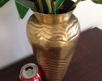 "Vintage Hollywood Regency Large Solid Brass Vase, Table top decor 12 "" inch tall"