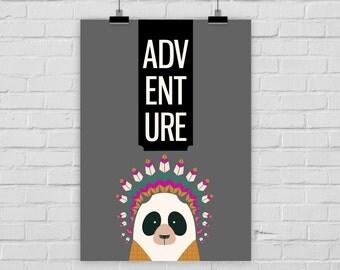 fine-art print poster ADVENTURE panda indian illustration