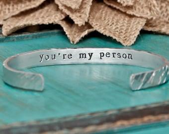 you're my person hand stamped bracelet, bracelet, best friends, friendship bracelet