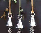 Silver Altar Bell or Windchime with Pentacle Charm