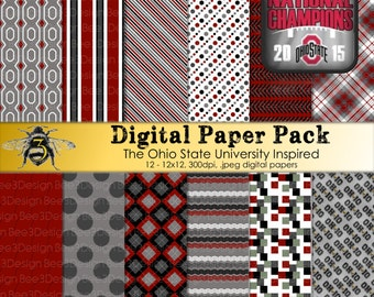 Buckeyes, OSU, Ohio State University Inspired, 12x12 Digital Paper Pack, Instant Download