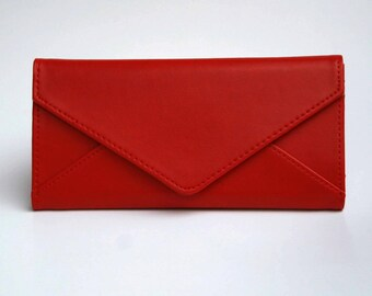 Womens Red Leather Wallet,  Red Wallet,  Red Wallet, Leather Wallet, Womens Wallet, Envelope Shaped Wallet