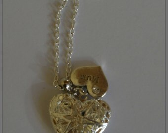Silver Plated Filigree Locket with charm necklace