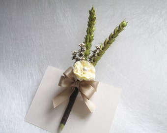 4 Silk Flower Corsage / Boutonnieres, Wedding Corsage, Wedding Boutonniere, Dried Flower Boutonniere, Cottage Boutonniere, Wedding Floral