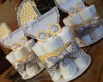 Neutral Baby Shower centerpieces/baby carriage centerpieces Yellow and Gray mini diaper cake set of three