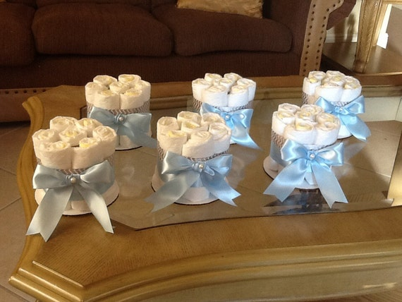 Small Diaper Centerpiece : Baby boy diaper cake set of mini cakes blue and gray