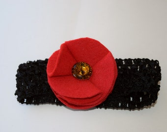 Red Felt Child's Poppy Headband